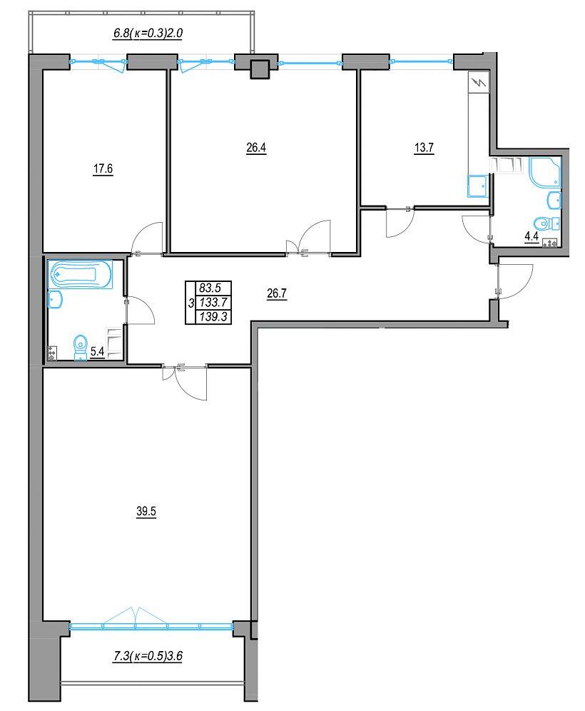 Планировка Трёхкомнатная квартира площадью 147.47 кв.м в ЖК «24 29»