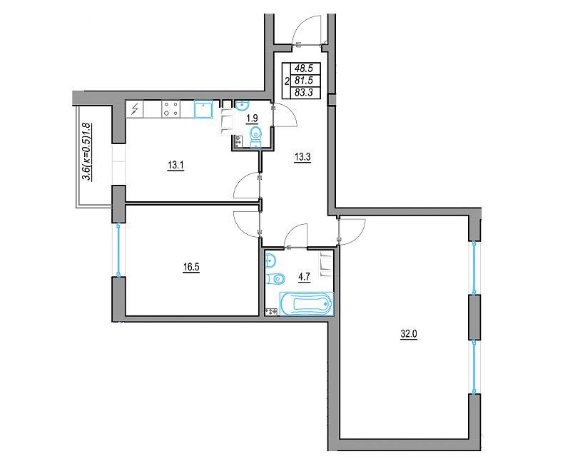 Планировка Двухкомнатная квартира площадью 85.1 кв.м в ЖК «24 29»